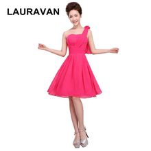 korean formal champagne chiffon sweetheart one shoulder hot pink new 2018  summer bridesmaid dress dressing gown fe6bc5997dea