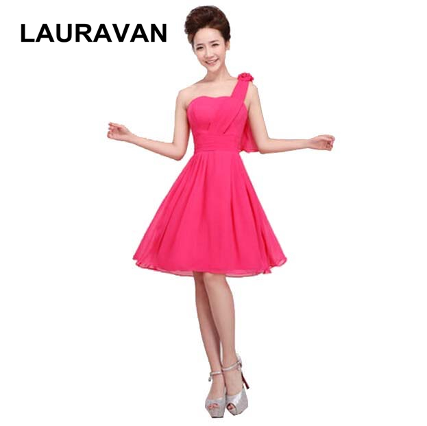 korean formal champagne chiffon sweetheart one shoulder hot pink new 2018 summer   bridesmaid     dress   dressing gown free shipping