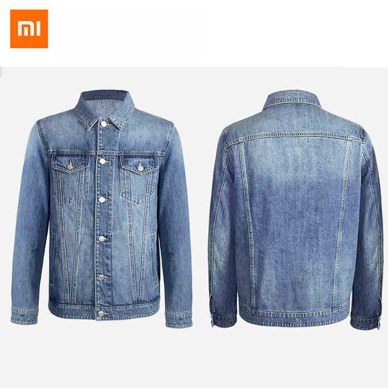 Original Xiaomi Bomber Jacket 100% Cotton Casual Fit Jacket Autumn Mens Simple Denim Jacket Fashion Brand Mens Coat