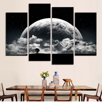 4 Piece Modular Pictures Black And White Close Planets Universe Canvas Painting On The Wall Pictures For Living Room Oil Cuadros