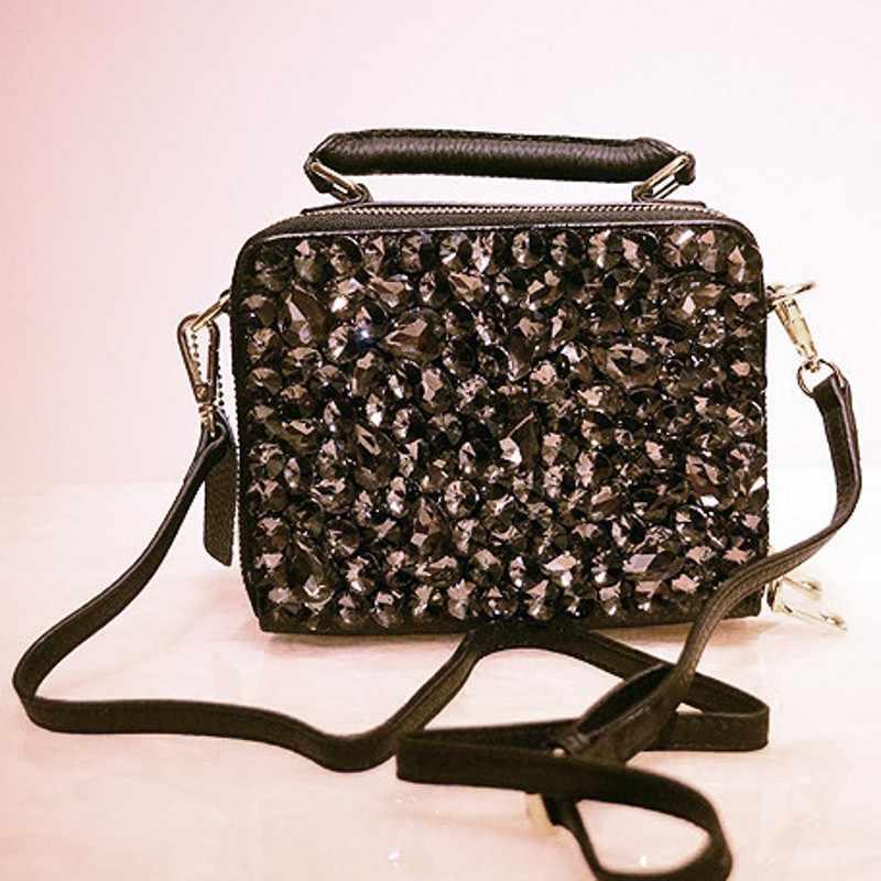 حقيبة يد فاخرة من الجلد الأصلي بسلسلة ماسية جديدة حقائب نسائية أنيقة للربيع والصيف حقيبة كتف كروس بحجر الراين
