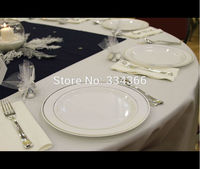60 People Dinner Wedding Disposable Plastic Plates Silverware Rim Silver Cutlery Party Decorations
