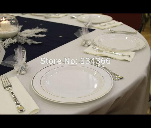 60 People Dinner Wedding Disposable Plastic Plates Silverware Rim Silver Cutlery Party Decorations : wedding plastic plates and silverware - Pezcame.Com