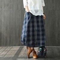 skirts 2018 spring elastic waist tie retro art lattice dovetail hem pocket female thin skirt