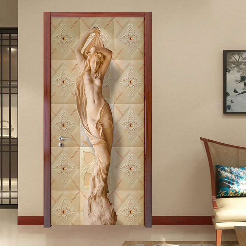 3D Sticker European Style Stereo Figure Statue Wallpaper Living Room Bedroom Home Design Door Sticker PVC Self-Adhesive Poster