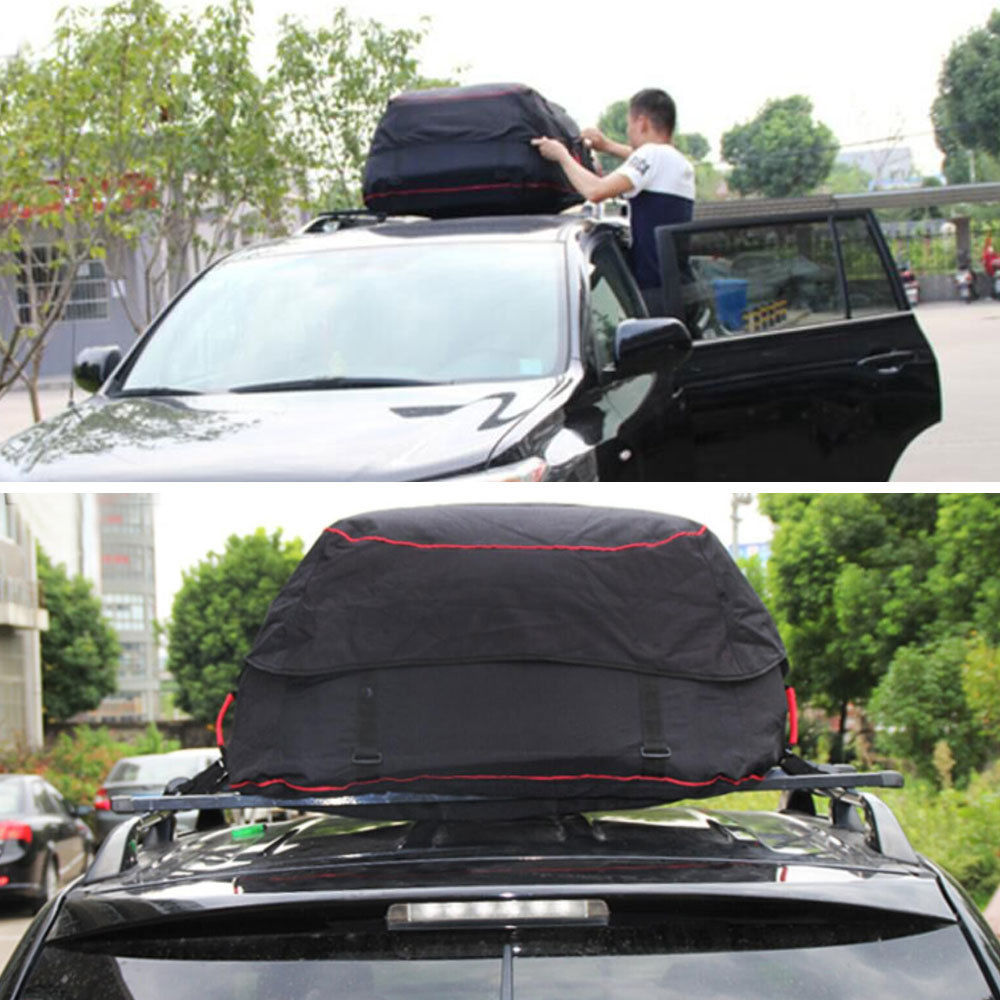 BBQ@FUKA 5.92 Cuft Car Waterproof Large Capacity Roof Carrier Cargo Storage Bag Fit For SUV with Roof Luggage Rack kemimoto 15 cubic feet rooftop cargo carrier waterproof roof top cargo luggage travel bag for car truck suv vans with roof rails