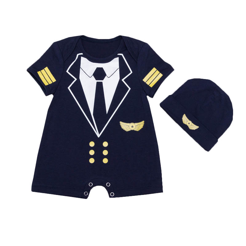 Blue Flight Captain Baby Romper Set Toddler Newborn Clothing Newborn Baby Boys Clothes Kids Romper Playsuit + Hat 2pcs Set free shipping new 2017 spring autumn baby clothing infant set gift baby jumpsuits newborn romper 4pcs set 2pcs romper hat bib
