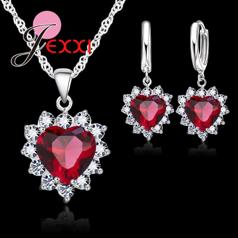New Fashion 6 Colour Women Female Heart Crystal Jewelry Set For Wedding Engagement 925 Sterling Silver Necklace Earrings