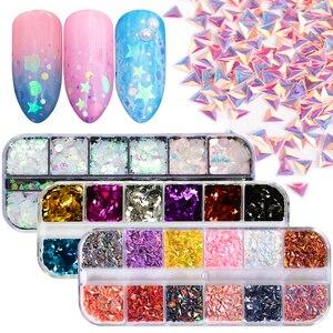 Image 1 - 1 Juego de copos de brillantina para uñas, polvo de lentejuelas AB, lentejuela holográfica, triángulo rombo 3D, diseño fino decoración de pulido JIG04