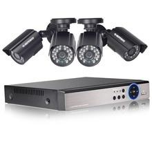 cctvシステム 4チャンネルcctvシステムビデオ監視dvrキット4ピース屋外irナイトビジョン1.0 hd p2p