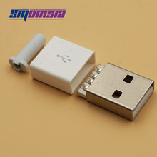 Smonisia 20sets with Long Tail USB Smonisia 2.0 A Male Plug Assembly Adapter Connector Smonisia 2.0 USB Connector Socket White