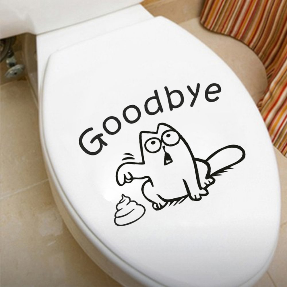 Cartoon Cute Goodbye Vinyl Quotes Toilet Sticker Close