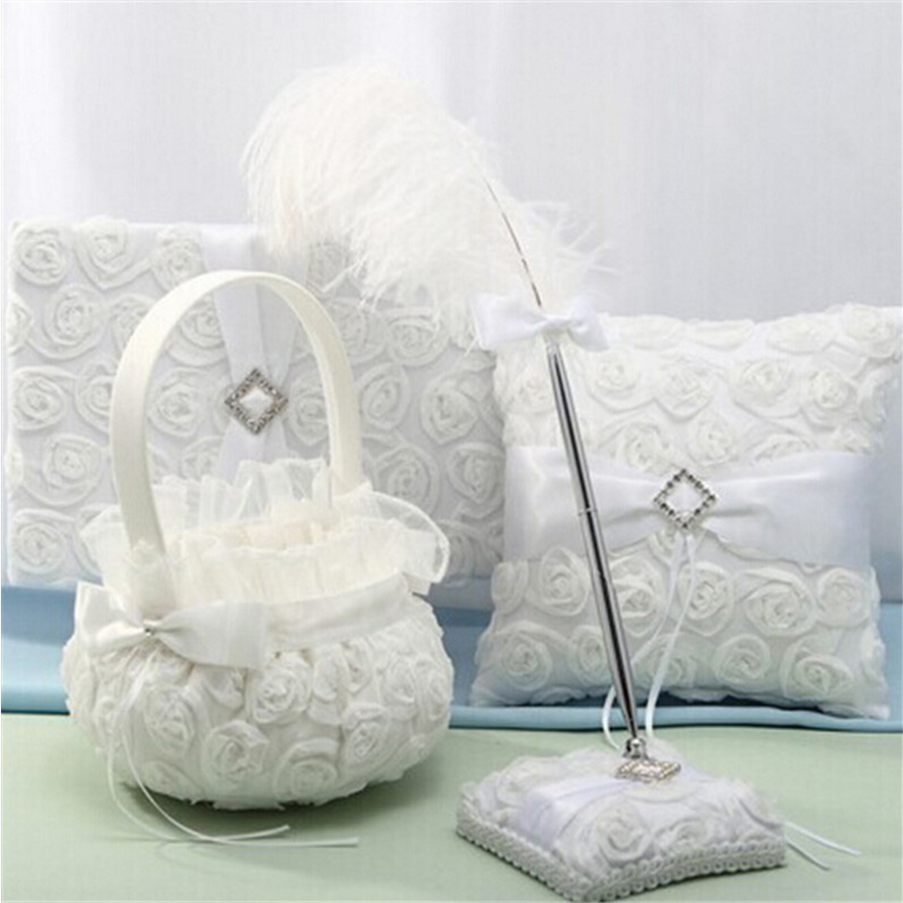 Popular flowers girl basket buy cheap flowers girl basket lots jetting wedding ceremony party love case satin bowknot rose flower girl basket wedding gift dhlflorist Image collections