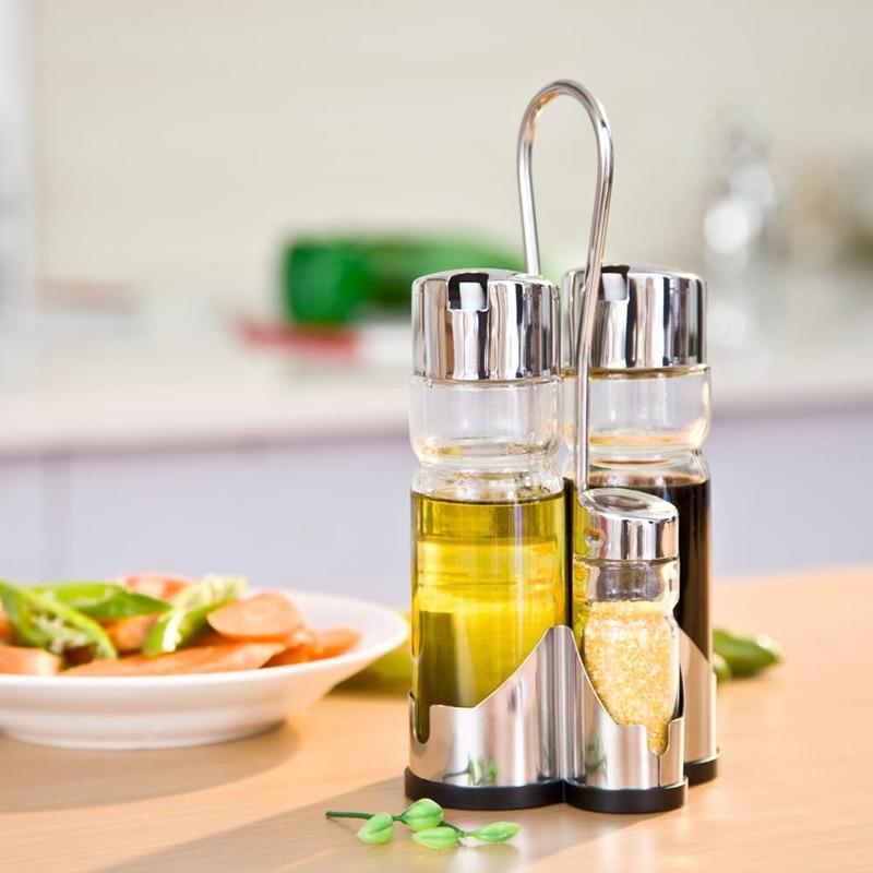 1pcs Clear Glass Olive Oil Vinegar Salt Pepper Set Oil Vinegar