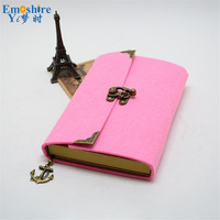 Retro Felt Notebook Sketchbook Diary Journal Student Note Pad Book Memo for School Office Writing Supplies N095