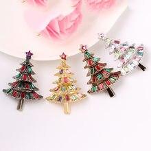 Cindy xiang colorido cristal árvore de natal broches para as mulheres vintage requintado pinos presente camisola vestido acessórios jóias