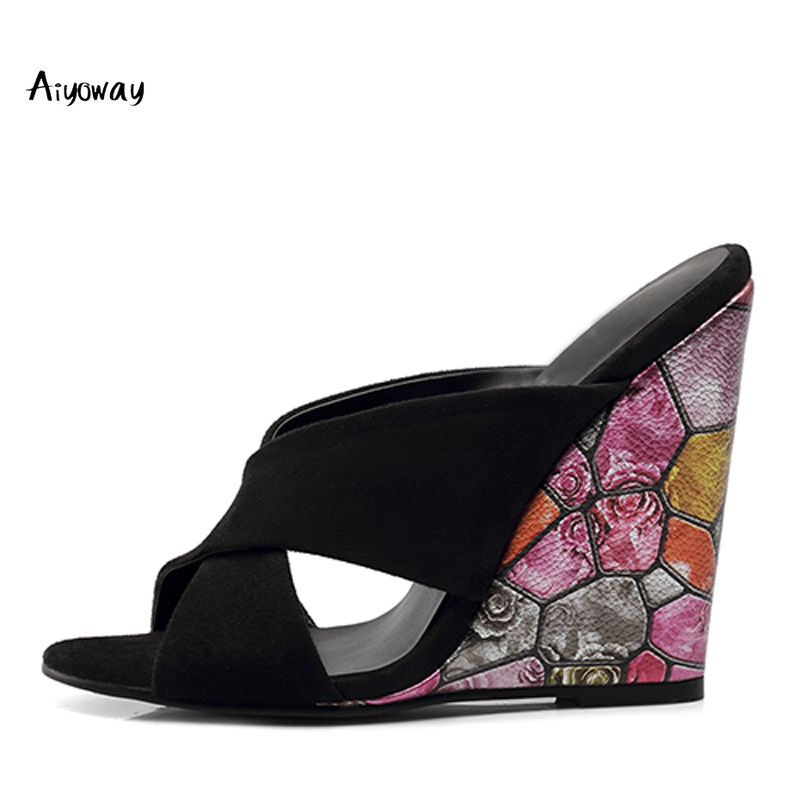 High Heel Mules Ladies Wedge Sandals Slippers 2019 Spring Women Shoes Floral Pattern Slip On Comfortable Shoes Casual