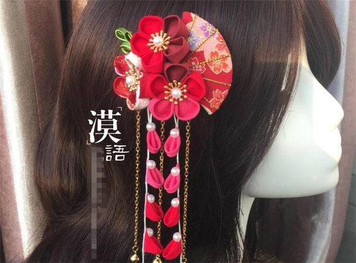 hand made hairpin cotton cloth hair clip barrettes Japanese style anime cosplay accessories original free shipping kimono fan