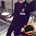Trincheira homens do revestimento 2016 dos homens novos de inverno engrosse quente brasão Turn-down collar longo preto & cinza outwear sobretudo manteau homme