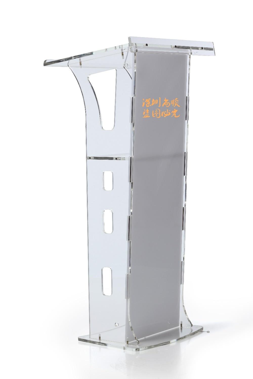 High Polished Clear Modern Acrylic Podium   Pulpit Bureau Desk Podium Stand Transparent