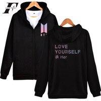 LUCKYFRIDAYF BTS Love Yourself New Album Zipper Harajuku Hoodies Women Winter Bangtan Kpop Sweatshirt Women Hoodies