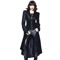 2018 Autumn Winter New Arrival Gothic Jacket With Skirt Women Black Sexy Palace Jackets Stand Collar Halloween Party Punk Jacket