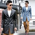 new leather coat men long youth slim fashion leather coat collar suit with pockets split at back bottom