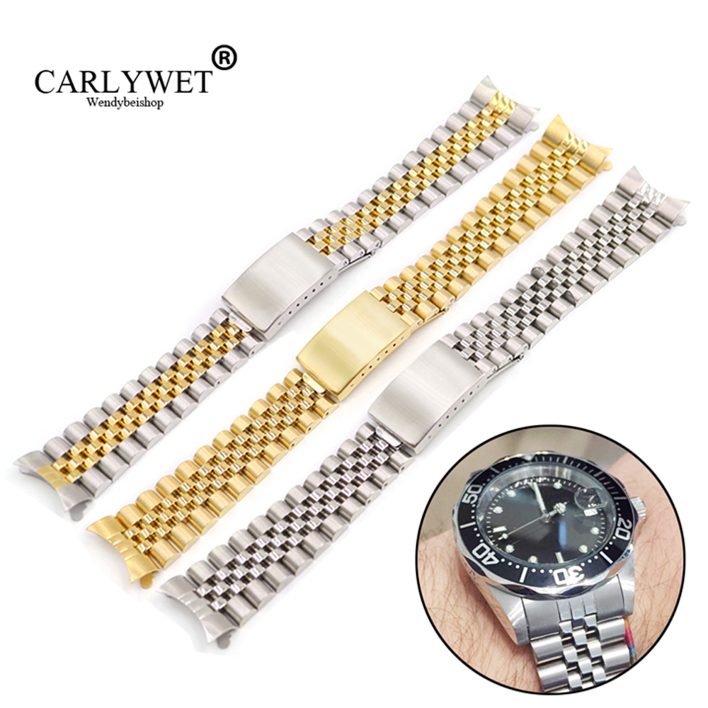 19 20 22mm Hollow Curved End Solid Screw Links Steel Replacement Watch Band Vintage Jubilee Bracelet For Datejust