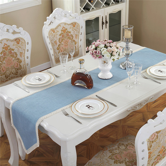New Home Decorations Table Runners Flax Sky Blue Lace Runner For Country Party Wedding