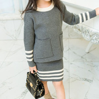 Wholesale 5pcs Lot 2016 Autumn Pockets Striped Knitted Long Sleeved Sweater Skirt Clothes Set For Age