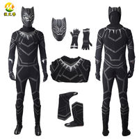 Top Quality Black Panther Cosplay Costume T'Challa Jumpsuit Costume For Halloween Party Adult Black Panther Men Outfit Suit