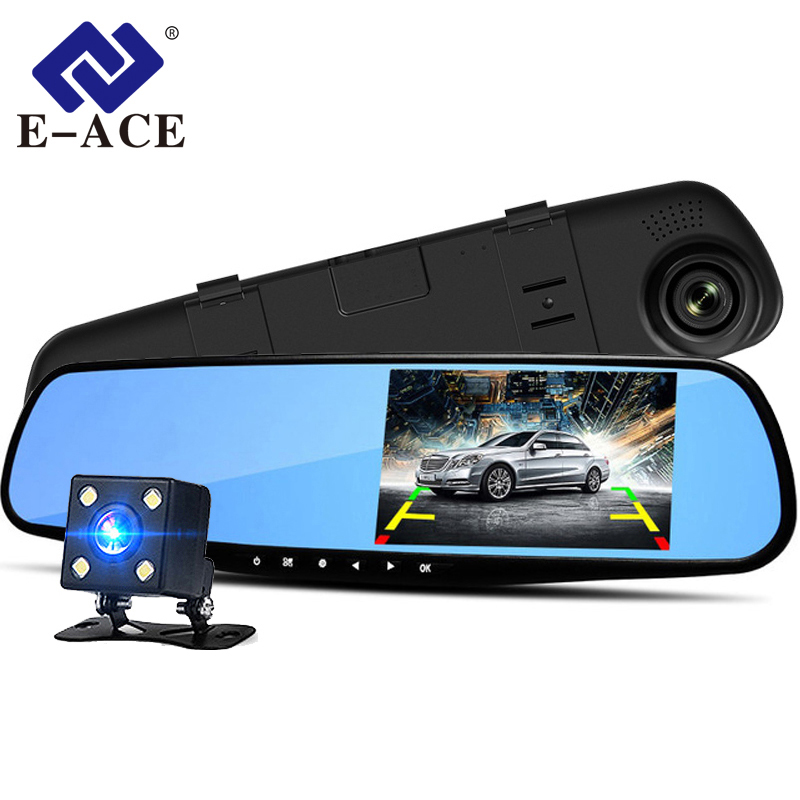 E-ACE A08 4.3 Inch Car Dvr Camera Full HD 1080P Automatic Camera Rear View Mirror With DVR And Camera Recorder Dashcam Car DVRs