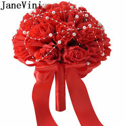 JaneVini 2018 Red Bouquet With Pearls Artificial Bridal Flower Silk Wedding Bouquet Bridesmaid Groom Bouquet Holder Accessories