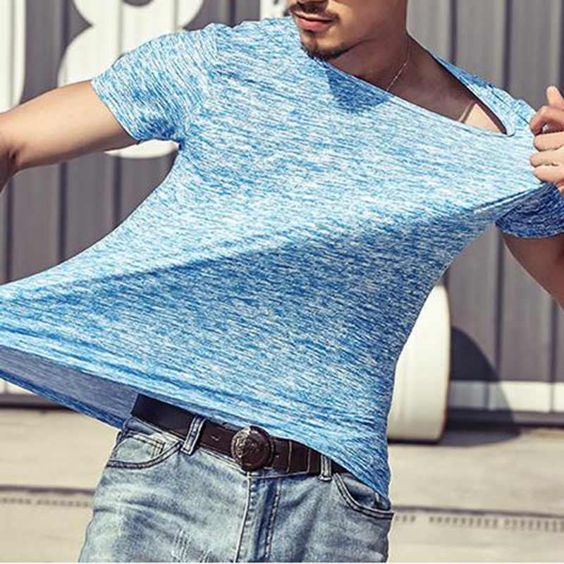 2018 marka jesień V neck T Shirt mężczyźni na co dzień Fitness topy i koszulki w stylu Vintage niebieski z długim rękawem swetry Homme Plus rozmiar Slim Fit tshirt