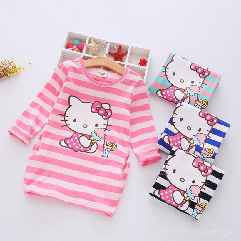 Children Girls Dress 2018 Fashion Casual Stripe Pattern Vestidos Girls Clothes 100% Cotton Christmas Vetement Fille Kids Dresses fashion easy matched stripe pattern shirt