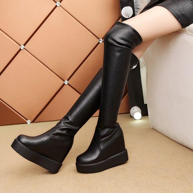 SWYIVY Frauen Herbst Hohe Stiefel Plattform Über Das Knie Weibliche Mode Stiefel Winter Warm Schnee Stiefel Schuhe Ausgeblendete Buchmacher Keil Dame stiefel