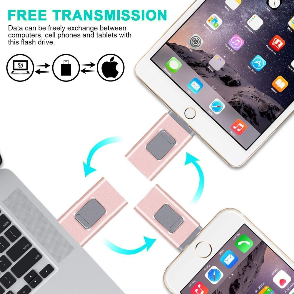 iOS Flash Drive 128GB, 256GB  64GB Memory Stick 3-in-1 OTG USB Pen Drive External Storage Compatible with iPhone iPad iPod Andro