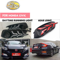 New design For Honda Civic 10th 2016 2017 12V Car LED DRL Daytime Running Lights rear bumper brake light tail light fog lamp