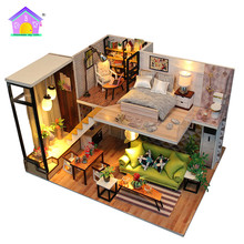 Hoomeda New arrival Miniature Wooden Doll House With DIY Furniture Fidget Toys For Kids Children Birthday Gift Romantic M3