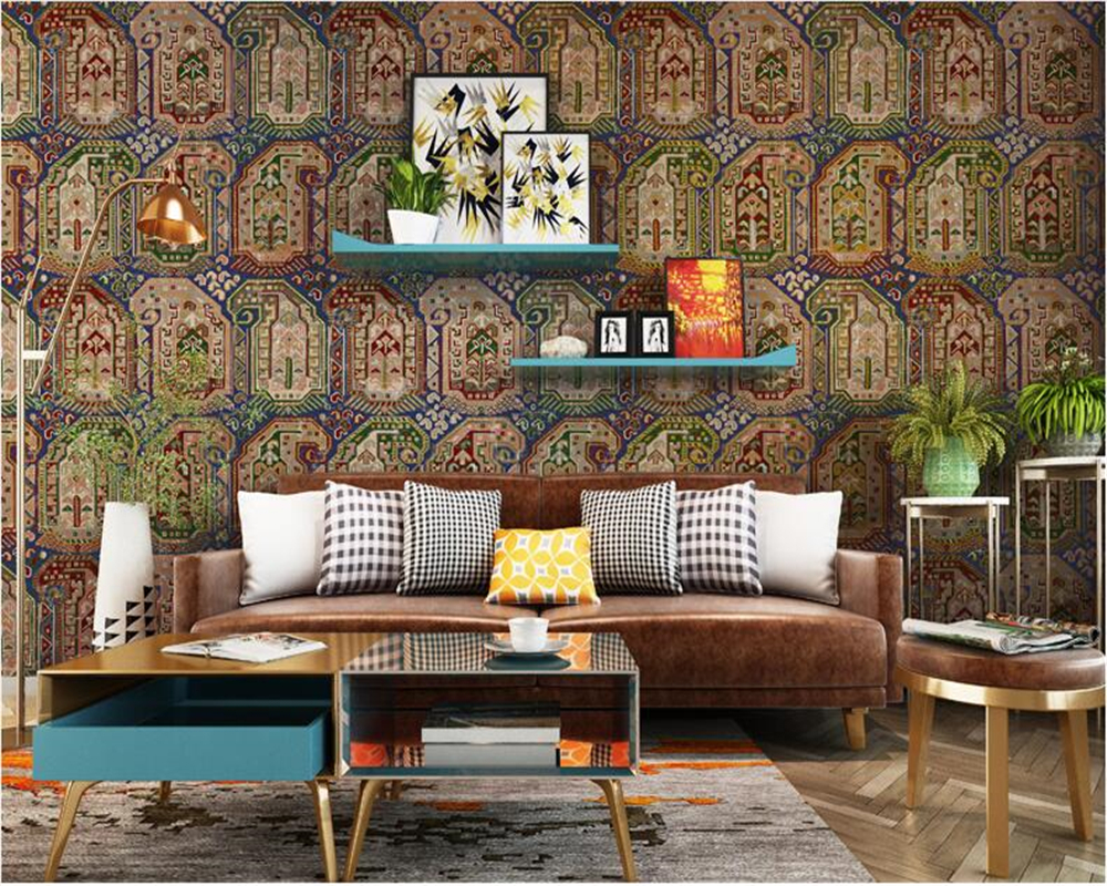Beibehang nostalgia vintage wallpaper ethnic style - Living room cafe menu philadelphia ...