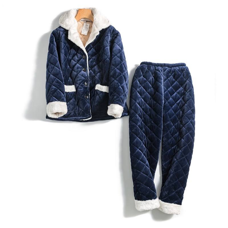 Navy Blue Women   Pajamas     Set   Thicken Warm Home Clothes Winter Soft 2PCS Sleepwear Long Sleeve Ladies Nightwear Pijamas M L XL