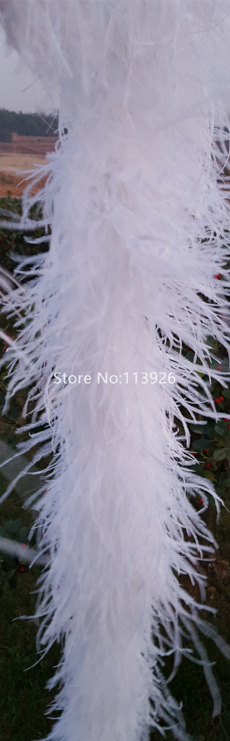 New!2meters long top quality white OSTRICH FEATHER BOA feather boas natural ostrich plumes for Party/Costume/Shawl/Crafts