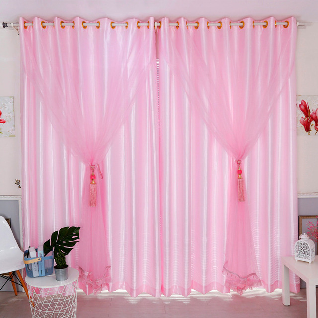 Latest 2pcs Lot Lovely Cute Shiny Pink Sheer Beads Window Curtain For Living Room Tulle