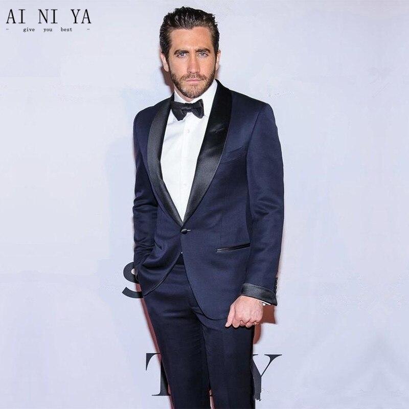 (Chaqueta + pantalón + corbata) trajes de ocio para hombre, esmoquin azul marino, trajes de negocios, trajes de boda de dos piezas