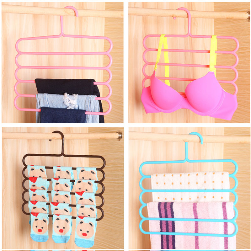 Image 2 - Five layer drying racks multi functional innovative hanger multi storey scarf racks anti slip pants folder Dropshipping X-in Storage Holders & Racks from Home & Garden