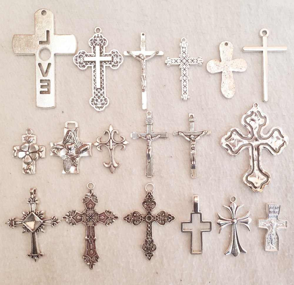 Mix   crosses Charm For Jewelry Making silver love flower jesus crosses Pendants For Bracelets pretty crosses Charm