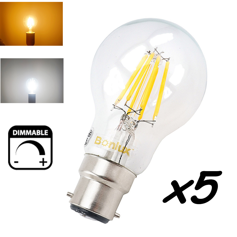 dimmable b22 led filament edison retro bulb 4w 8w 220v bayonet base led b22 a60 a19 clear glass. Black Bedroom Furniture Sets. Home Design Ideas