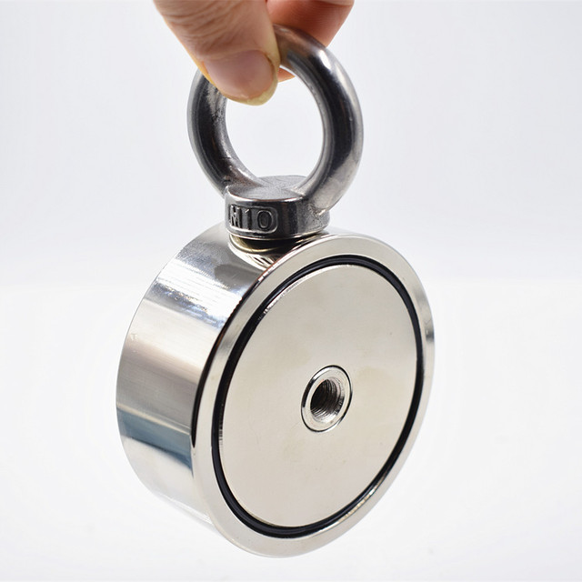 Strong powerful Fishing Salvage Neodymium Magnet Double-side Pulling Mounting Pot with ring gear deep sea treasure hunter holder