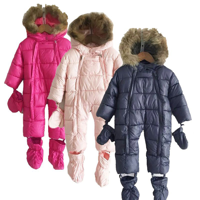 Winter Baby Girls & Boys Clothes,Infant Snowsuit Thermal Overalls, Duck Down Cotton Rompers Ski Suits,Kids Warm Jumpsuit baby winter warm ski suits thick down
