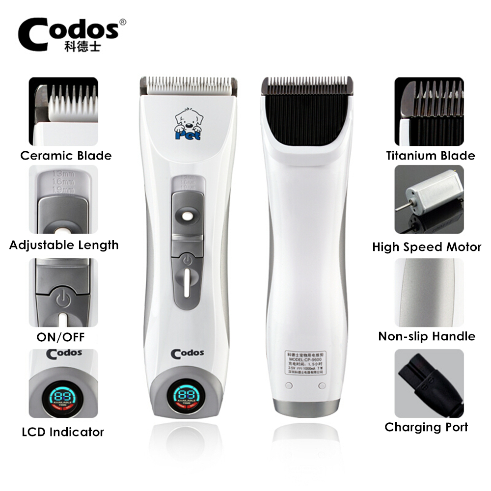 Codos CP 9600 Professional Pet Electric Shaver LCD Display Dog Trimmer Grooming Haircut Machine Silver Rechargeable